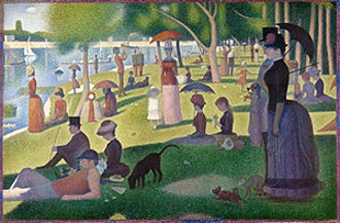 A Sunday Afternoon on the Island of La Grande Jatte. located in the art institute of Chicago