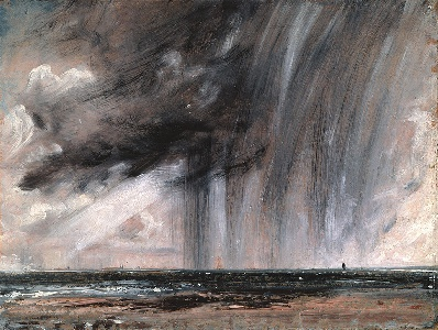 The sketches themselves were the first ever done in oils directly from the subject in the open air. To convey the effects of light and movement, Constable used broken brushstrokes, often in small touches, which he scumbled over lighter passages, creating an impression of sparkling light enveloping the entire landscape. One of the most expressionistic and powerful of all his studies is Seascape Study with Rain Cloud, painted about 1824 at Brighton, which captures with slashing dark brushstrokes the immediacy of an exploding cumulus shower at sea. wikipedia.org