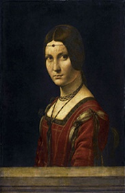 La belle ferronniere is a name given to a portrait in The Louvre of a woman, usually attributed to Leonardo da Vinci. It is also known as Portrait of an Unknown Woman. The painting's title, applied as early as the seventeenth century, identifying the sitter as the wife or daughter of an ironmonger (a ferronnier), was said to be discreetly alluding to a reputed mistress of Francis I of France, married to a certain Le Ferron. The tale is a romantic legend of revenge in which the aggrieved husband intentionally infects himself with syphilis, which he passes to the king through infecting his wife. wikipedia.org